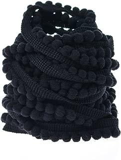 Yalulu 10 Yards Mini Pom Pom Trim Ball Fringe Ribbon Tassel DIY Sewing Accessory Lace for Home Party Decoration,1cm Width (Black)