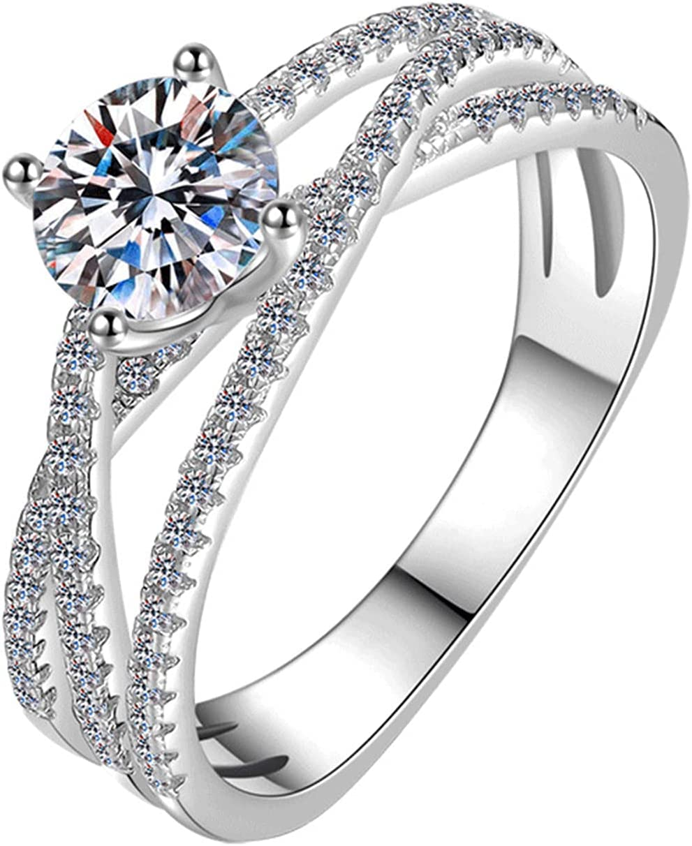 FPOJAFVN 925 Sterling Silver Moissanite Ring Fixed Ranking TOP9 price for sale Four Prong Diamond
