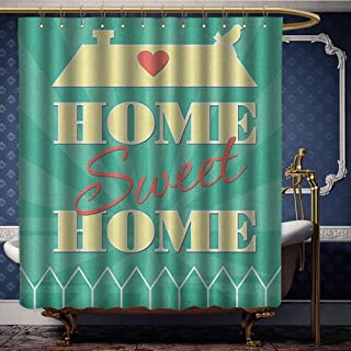 Jiahong Pan Home Sweet Home,Fabric Shower Curtain Abstract Yellow Roof with a Heart and Bird Background Waterproof Machine Washable Sea Green Pale Yellow Dark Coral W72 xL72