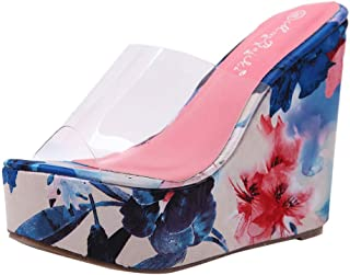 Women Summer Fashion Sandals Transparent Wedges Colorful Thick Bottom Slippers Flip-Flop