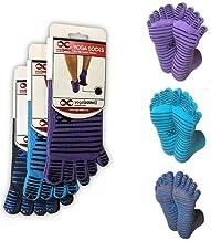 YogaAddict Yoga, Pilates, Barre, Dance, Full Toe Socks with Grips, 1 & 3 Pairs Set, Anti Non Slip Skid, for Women & Men