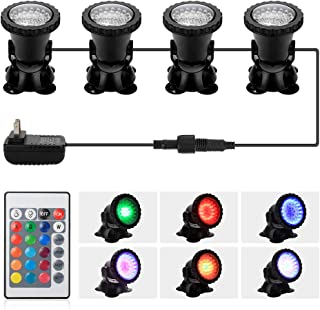 DOCEAN Pond Light, 36 LED IP68 Waterproof Underwater Submersible Spotlight with Remote, 4 Pack Multi-Color & Adjustable & Dimmable Aquarium Light, Landscape Lamp for Fish Tank Fountain (Upgraded)