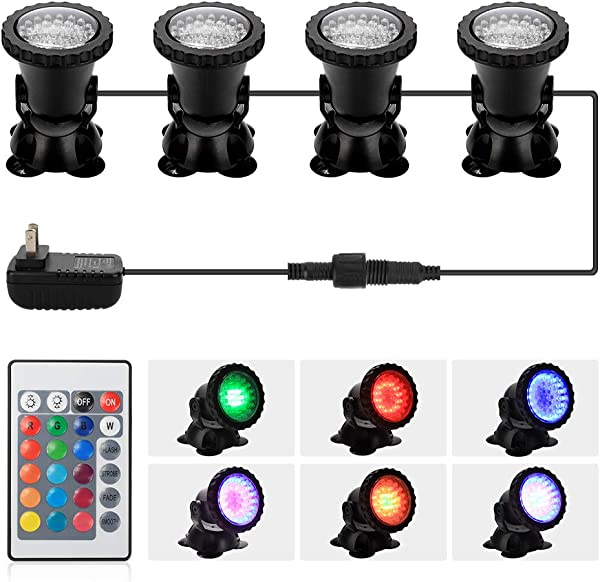 DOCEAN Pond Light 36 LED IP68 Waterproof Underwater Submersible Spotlight With Remote 4 Pack Multi Color Adjustable Dimmable Aquarium Light Landscape Lamp For Fish Tank Fountain Upgraded