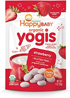 Happy Baby Organic Yogis Freeze-Dried Yogurt & Fruit Snacks Strawberry, 1 Ounce Bag (Pack of 8) (Packaging May Vary)