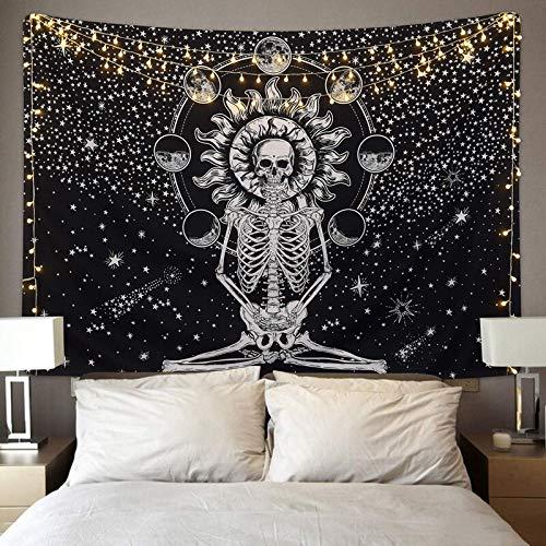 Blanco negro sol luna mandala tapiz hippie bohemio decoración dormitorio pared fondo colgante manta de tela A5 130x150cm