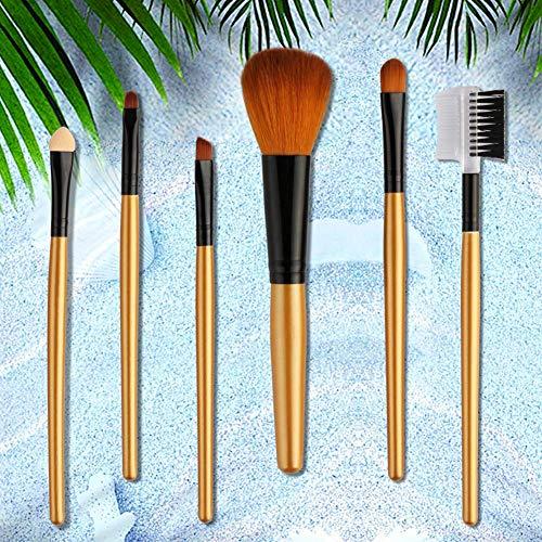 Pinceaux de maquillage de qualité supérieure, 6pcs / set poudre fard à paupières éponge sourcils peigne brosse professionnel outil de maquillage - champagne Li-ly