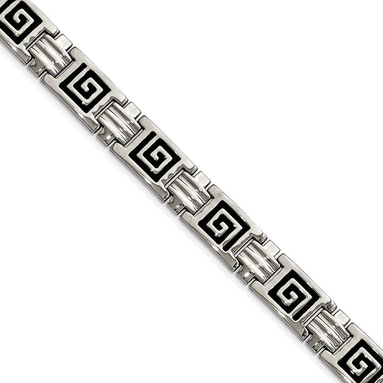 Beautiful Stainless Steel Black Enamel 9in Bracelet