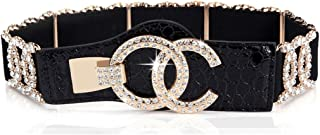 Stretch Belts for Women Luxury with Rhinestone Corlink Black Waist Belts