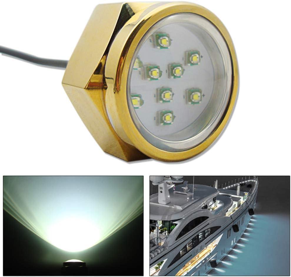 27 W Wasserdichter Abflussstopfen 9 LED Marine Boot Unterwasser Licht Titanlegierung Gewinde für Brunnen Pool Teich Beleuchtung weiß Weiß