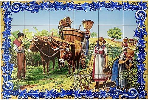 Azul'Decor35 Glasierte Steingut-Wandfliesen von 90 x 60 cm – 24 bemalte Fliesen von 15 x 15 cm