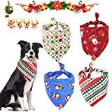 WELLXUNK® Bandanas de Perro, 4 pcs Pañuelo de Mascotas, Bandana para Perros, Pañuelo Bufanda de Mascota Navidad Baberos Lavables de Perros para Perros y Gatos Estilo Papá Noel y Reno (M2)