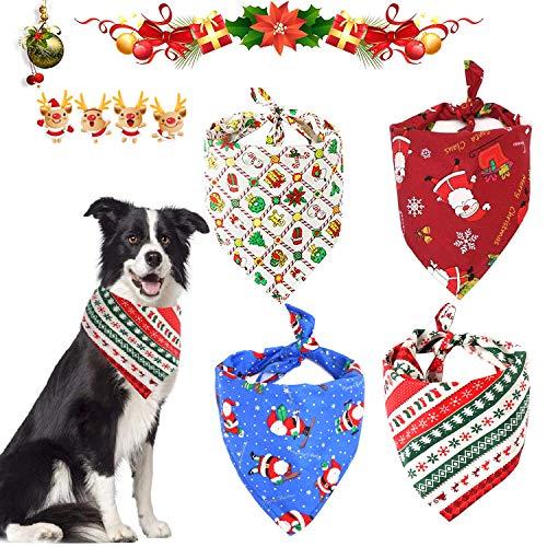 WELLXUNK® Weihnachten Haustier Bandanas, 4 Speichel Tuch Schal, Haustier Kopftuch Set Haustier Dreieck Lätzchen, Wunderschön und Weich Hund Bandanas für kleine mittelgroße und große Tiere
