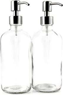 16-Ounce Clear Glass Boston Round Bottles w/Stainless Steel Pumps (2 Pack), Soap..
