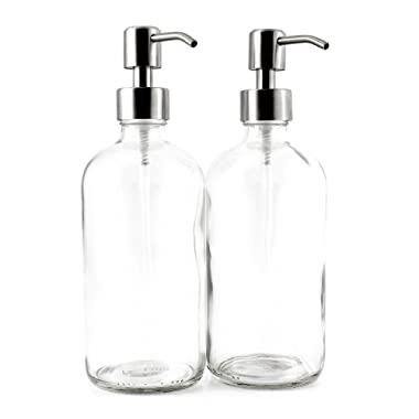 Cornucopia Brands 16-Ounce Clear Glass Boston Round Bottles w/Stainless Steel Pumps (2 Pack), Soap Dispenser Great for Essential Oils, Lotions, Liquid Soaps