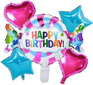 DIWULI, Juego de 5 globos para cumpleaños, globos de bonbon Happy Birthday, multicolor + 2 globos de corazón rosa + 2 estrellas globos azul para cumpleaños, niñas, niños, fiestas, decoración