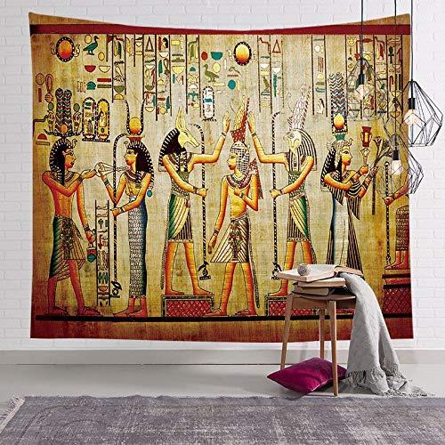 KHKJ Farbiger Wandteppich im ägyptischen Stil Wandbehang Mandala Pharao Tagesdecke Throw Hippie Cover Art Dekorativ A10 200x180cm