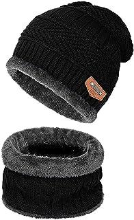 Vsing 2-قطعة الشتاء قبعة وشاح مجموعة دافئة متماسكة الجمجمة كاب سميكة الصوف مبطن للرجال النساء