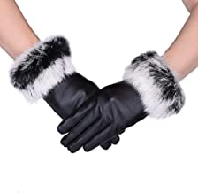 Womens Gloves Warm GlovesTouchscreen Texting rabbit Fur Wrist Winter PU Leather Gloves Driving Lining Gloves