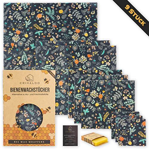 Crimaldo 9er Set Bienenwachstücher für Lebensmittel   Bienenwachstuch, Wiederverwendbare Wachstücher mit Bienenwachsblock um das Wachspapier aufzubereiten   inkl. kostenlosem eBook.