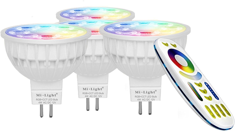 LIGHTEU, 4x 4W 12V GU5.3 MR16 RGB + CCT LED-Strahler Farbwechsel und CCT WW CW Temperatur einstellbar, original Mi-Light, Glühlampe mit 4-Zonen-Fernbedienung (4x FUT104 + FUT092)