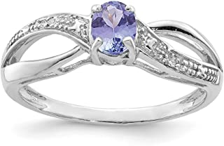 ICE CARATS 925 Sterling Silver Diamond Blue Tanzanite Band Ring Size 9.00 Gemstone Fine Jewelry Ideal Gifts For Women Gift...