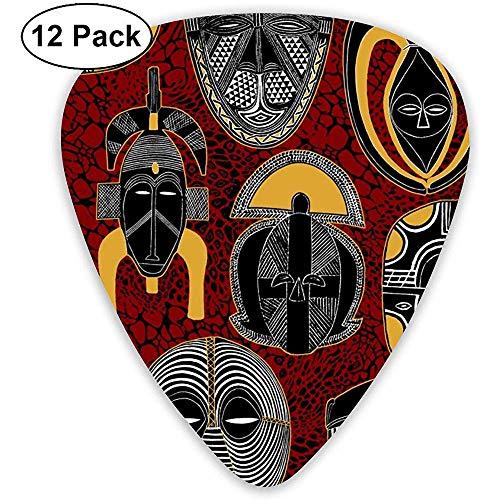 Maske afrikanische Motive Plektren dünn, 12er Pack Kinder bunte Plektren