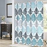 GreeSuit - Cortina de ducha de tela para baño, de poliéster resistente al agua y al moho, con 12 ganchos, se puede lavar en la lavadora, 180 x 180 cm, diseño de rayas azules