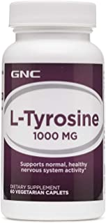 GNC L-Tyrosine 1000mg, 60 Caplets, Supports Normal, Healthy Nervous System Activity