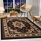 Antep Rugs Alfombras Oriental Traditional 4x6 Non-Skid (Non-Slip) Low Profile Pile Rubber Backing Indoor Area Rugs (Black, 4' x 6')