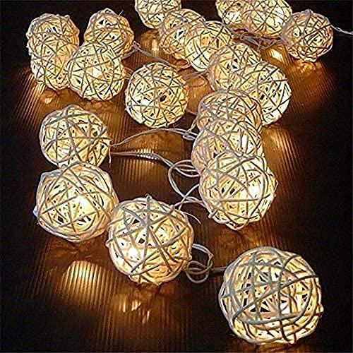YXYY Cadena de luz LED, 20 LED, 2 modos de luz de cuerda alimentada con batería, 2 modos de decoración de luz blanca cálida para interiores y exteriores para fiestas de Navidad