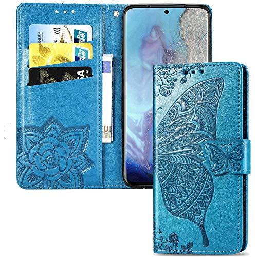 IMEIKONST LG Q7 2018 Hülle Elegant Embossed Flower Card Holder Brieftasche PU Leder Durable Magnetic Flip Ständer Schutzhülle Handyhülle für LG Q7 2018 Butterfly Blue SD