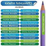 50 Klebende Mini-Etiketten für Bleistifte und Kugelschreiber Maße: 4,2 x 0,5 cm. (Kelle 5)