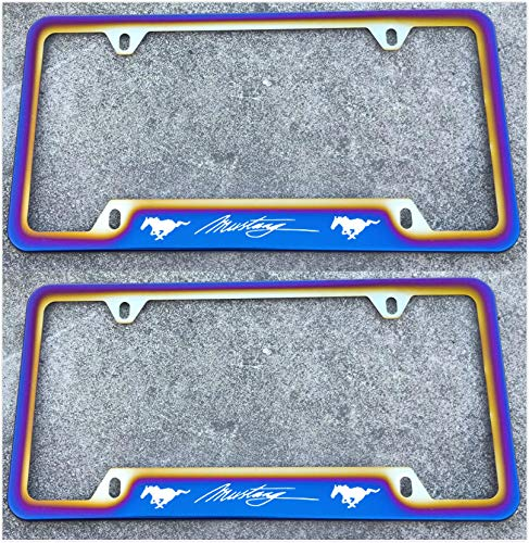 Estodian Blue Burnt Rainbow Chameleon Colorful Mustang Car License Plate Tag Holder Frame for Mustang 304 Stainless Steel (2)