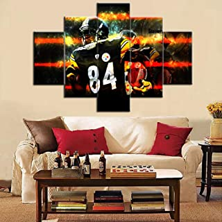 TUMOVO Pittsburgh Steelers Home Decor Antonio Tavaris Brown Pictures Super Bowl Paintings on Canvas Artwork 5 Pcs/Multi Panel Wall Art for Living Room Giclee Wooden Framed Ready to Hang (60''Wx40''H)