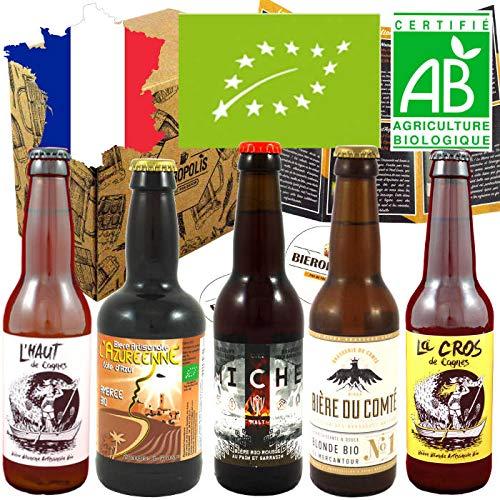 Pack Bières Bio Bieropolis - 5 Bières Artisanales Bio françaises de Microbrasseries - 33 cl - cadeau idéal pour...