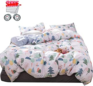 Cartoon Forest Cotton Bedding Duvet Cover Sets Queen 3 Pieces (1 Duvet Cover and 2 Pillowcases) Full Girls Bedding Sets Zipper Closure,Gifts for Her,Child,Friend,Family,NO Comforter