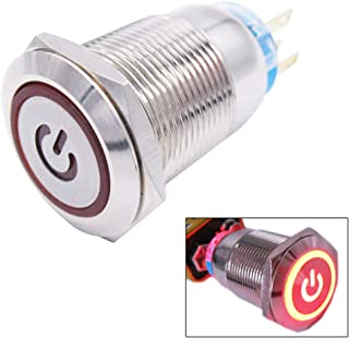 Twidec / 19mm Mounting Hole Latching Push Button Switch 1NO 1NC SPDT ON/Off Silver Waterproof Stainless Steel Shell with 12V Red Power Symbol LED Lamp Ring for car Modification Switch L-19-Power-T-R