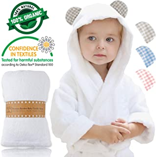 Channing & Yates - Premium Baby Robe - Toddler Robe - Organic Bamboo Hooded Bathrobe Towel - Thick & Soft