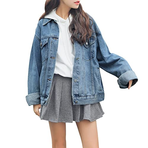 22b81f054b8 Dasior Women s Boyfriend Denim Jackets Long Sleeve Loose Jean Coats