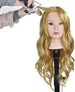 """Mannequin Head with 40% Human Hair, 28"""" Long Hair Practice Professional Cosmetology Training Head for Hair Styling Doll He..."""