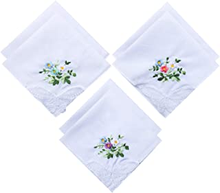 6 Pack of Ladies Embroidery Cotton Handkerchiefs Lace Border White Hankies