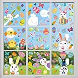 Easter Window Stickers for Easter Day Decorations, 121 PCS 9 Sheets Reusable Static Spring Window Clings Decor