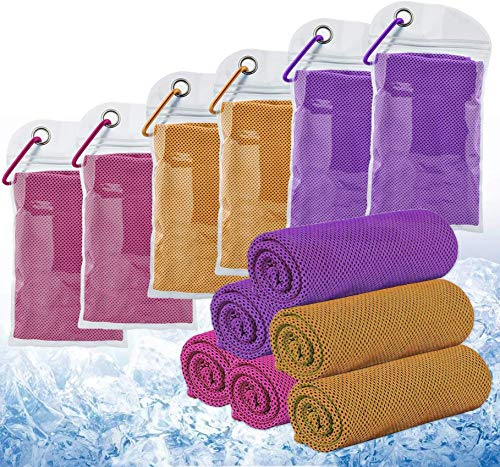 6 Pack Cooling Towels Ice Towel Breathable Chilly Towels for All Exercises Sports Running Yoga Gym Workout Camping Golf Fitness Workout Indoor Outdoor (Multiple Color and Patterns Options)