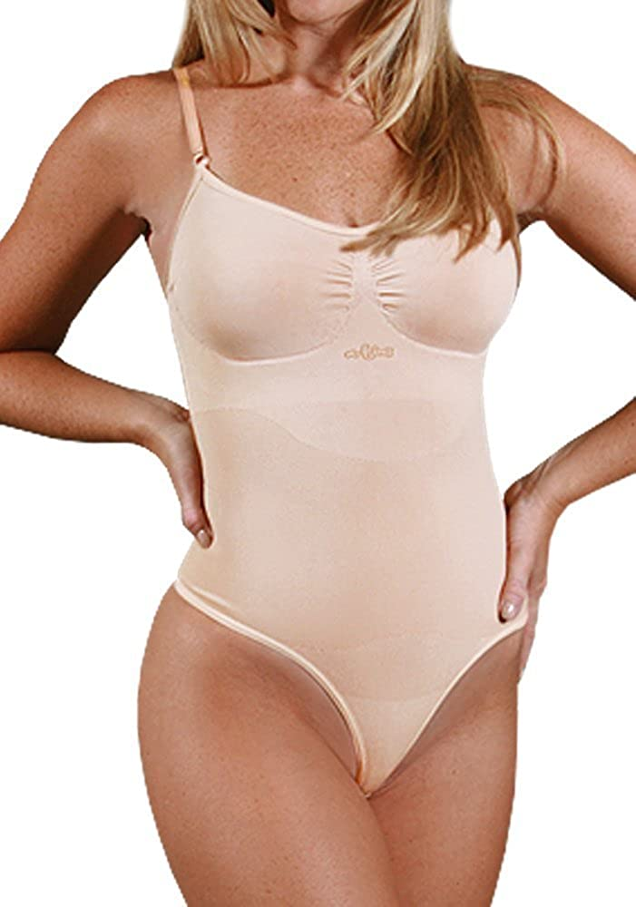 Aha Moment n-fini Women's Cami Bodysuit Shapewear Non-Padded Wire Free Bra and Thong Bottom Panty