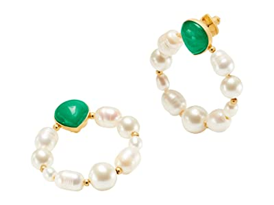 Kate Spade New York Pearl Drops Hoops Earrings (Green) Earring