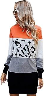 PKYGXZ Vestido de Punto a Juego de Color para Mujer otoño e Invierno Jerséis Gruesos y cálidos Jersey de Punto con Cable S...