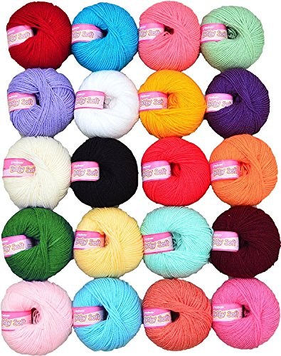 Vardhman Knitting Yarn Soft Wool Ball(Mix Colours) - 20 Pieces