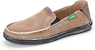 VILOCY Men's Slip on Deck Shoes Canvas Loafer Vintage Flat Boat Shoes