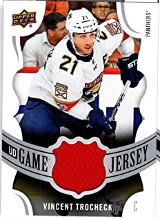 2018-19 Upper Deck Series 1 Game Jersey Relics #GJ-VT Vincent Trocheck Game Used Florida Panthers Jersey NHL Hockey Trading Card