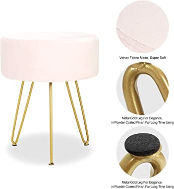 ECOTOUGE Velvet Footrest Ottoman Round Modern Upholstered Vanity Footstool Side Table Seat Dressing Chair with Golden Metal Leg(Pink)